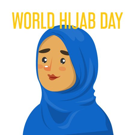 World hijab day web banner vector isolated. Beautiful muslim woman in blue hijab smiling. Young arabian person. Çizim