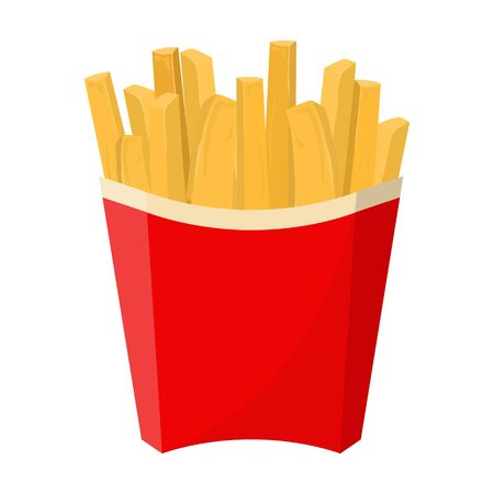 French fries in the red box vector isolated. Junk food, fat meal. Element for cafe menu. Tasty yellow potato product.