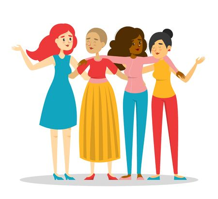 Group of happy women vector isolated. Female friendship, young woman hugs friends. Lady in casual clothes.