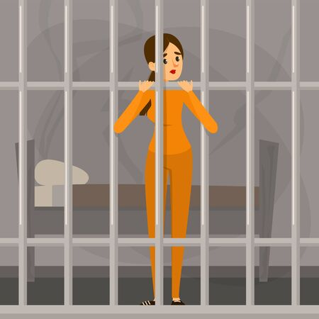 Sad woman standing in prison. Person in orange clothing locked in the cell. Jail punishment. Girl imprisoned, murderer or robber under sentence