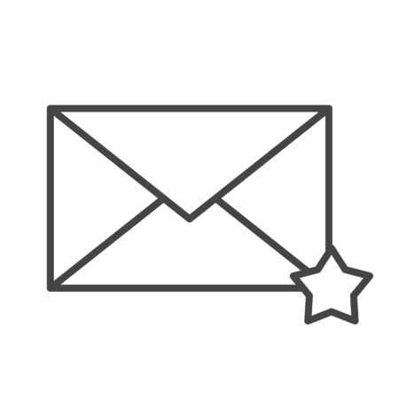 Mail icon line style. Message and star symbol, email correspondence, button sign. Letter in favorites. Isolated vector website symbol. Çizim
