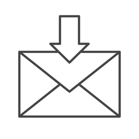 Mail icon line style. Message symbol, email correspondence, button sign. Letter download. Isolated vector website symbol. Çizim