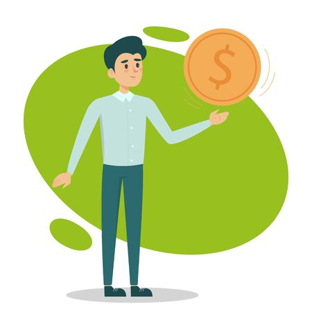 Happy man holding a giant golden coin vector isolated. Financial wealth related illustration. Symbol of success. Rich businessman. Çizim
