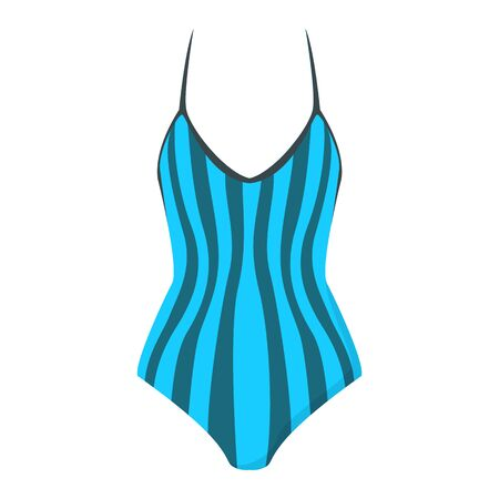 Female swimwear vector isolated. Colorful blue striped swimsuit, bathing apparel. Classic shape of swim clothing.