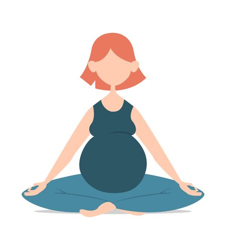 Beautiful woman sitting in lotus pose. Meditation and yoga. Vector isolated illustration of female person relax.