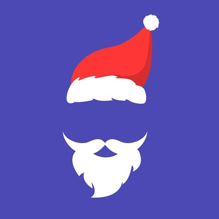 Santa Claus mask vector isolated. Red hat and beard with mustache. Face mask, fun and humor.