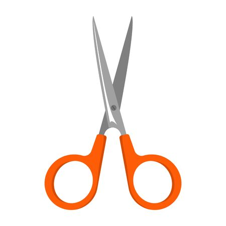 Red scissors vector isolated illustration. Plastic and metal material, sharp object. Cut tool symbol.