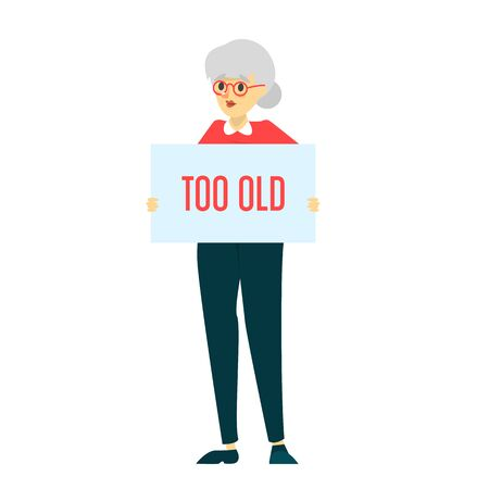Too old woman vector isolated. Idea of ageism, discrimination in society. Senior woman and problems with job searching. Çizim
