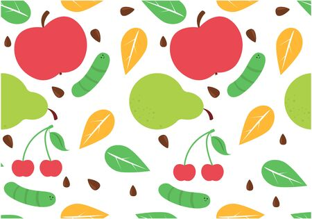 Seamless summer fruit pattern. Vector isolated texture with pear, apple and cherry, worm and leaf. Sweet and fresh food on textile pattern. Design for fabric.