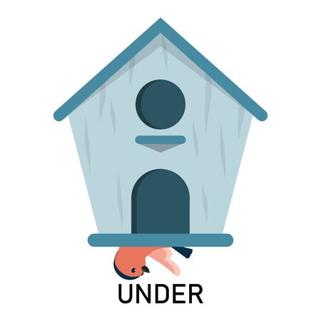 Bird and birdhouse, learning preposition vector isolated. Preschool education, study position of the object. Bird is hiding under the birdhouse. Çizim