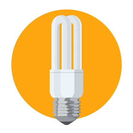 Energy saving fluorescent light bulb vector isolated. Alternative power, glass equipment. Innovation on electricity. Çizim