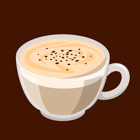 Small cup of capuccino vector isolated. Tasty hot coffee and white milk foam with cinnamon. Brown drink for breakfast. Stock Illustratie