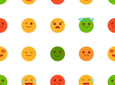 Vector emoji pattern isolated. Seamless texture with head symbol. Smile and sad round sign. Cute symbol for chat.