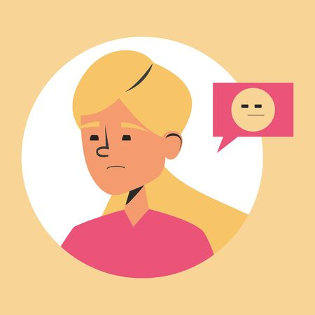 Suspicious woman vector isolated. Portrait of a girl looking in doubt. Flat person and yellow emoji symbol.