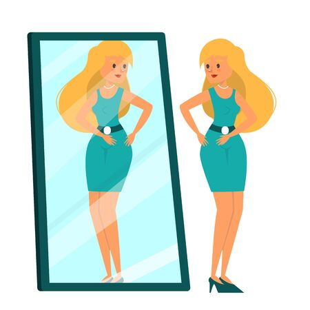 Beautiful woman looking at the mirror vector isolated. Female person in the dresss standing and looking at the reflection. Fashion lady.