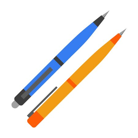 Pen vector isolated. Two pens, blue and orange, office supplies. Writing equipment, school stationery.