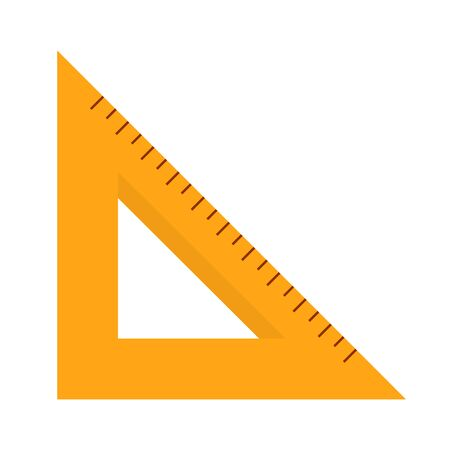 Triangle ruler vector isolated. Yellow tool, school stationery. Measurement equipment, mathematics tool.