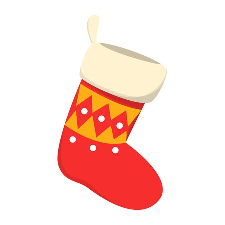 Red stocking vector isolated. Christmas sock, yellow geometric decoration element. Traditional wear, hanging at home.