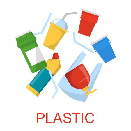 Plastic waste collection vector isolated. Idea of rubbish recycling, ecology friendly lifestyle. Package and straw. Çizim
