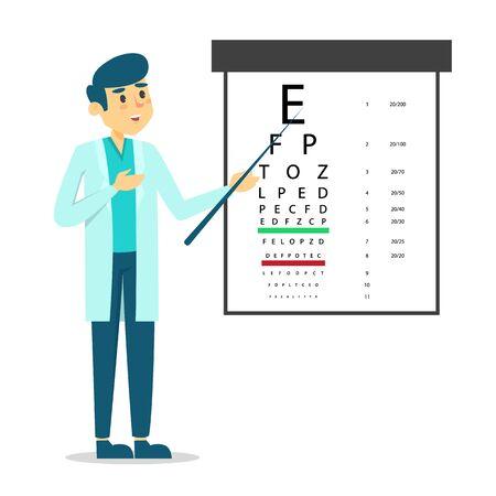 Männlicher Augenarzt, der am Augenprüftischvektor lokalisiert steht. Augenärztliche Untersuchung, medizinische Person, die auf Brief zeigt. Vektorgrafik