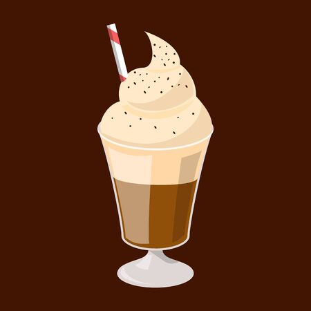 Coffee glace in glass vector isolated. Hot tasty beverage full of caffeine with milk foam on the top.