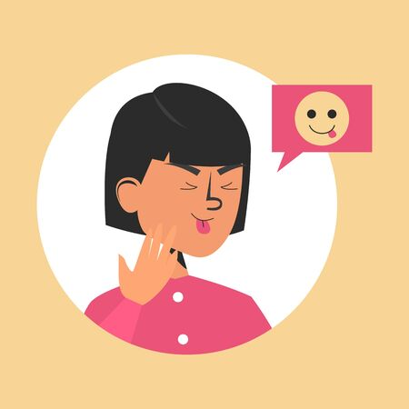 Cute girl shows tongue vector isolated. Yellow funny emoji symbol for internet chat. Female facial expression. Humor character.