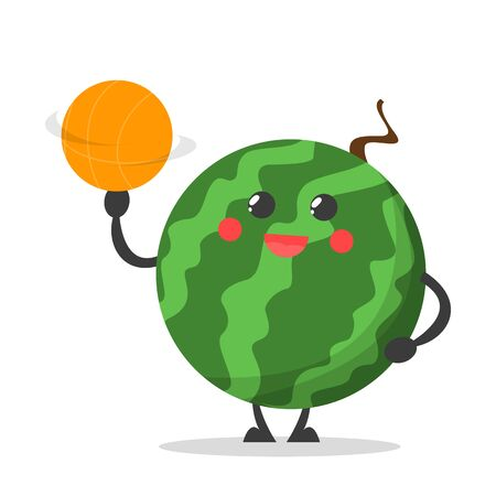 Watermelon playing basketball vector isolated. Healthy eating and active lifestyle. Fresh fruit holding a ball.