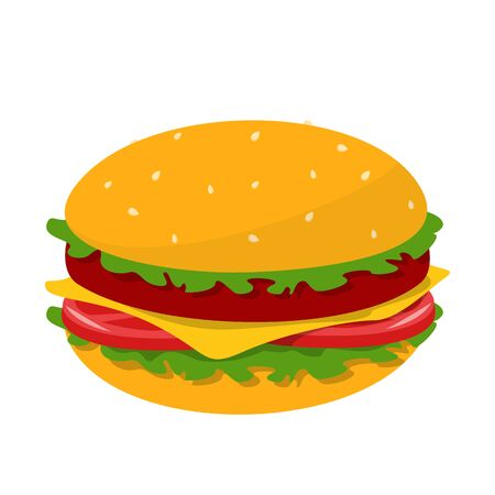 Tasty burger vector isolated. Meat, salad, tomato and cheese between the buns. Delicious snack, fast food.