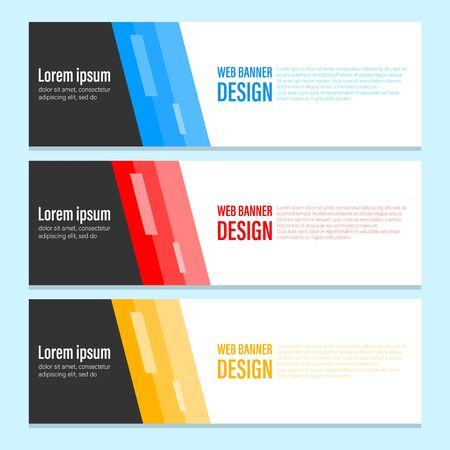 Abstract design of advertisement web banner vector isolated. Sample text and colorful element on background. Collection of layout. Creative modern template of blue, red and yellow color Çizim