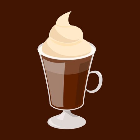 Mocha coffee in a glass vector isolated. Tasty hot beverage, cup of black drink. Milk foam on top of coffee.
