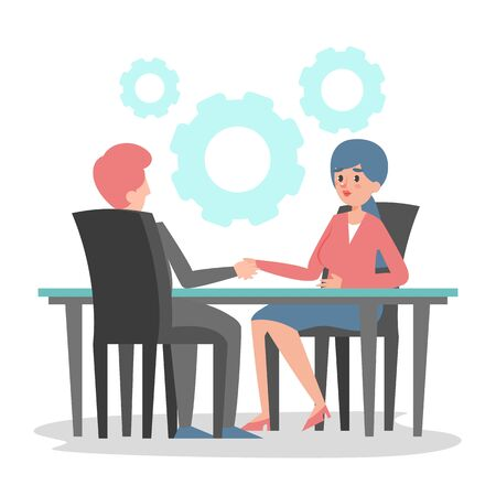 Business deal between man and woman vector isolated. Business workers sitting at the table and shake hands. Successful agreement. Çizim
