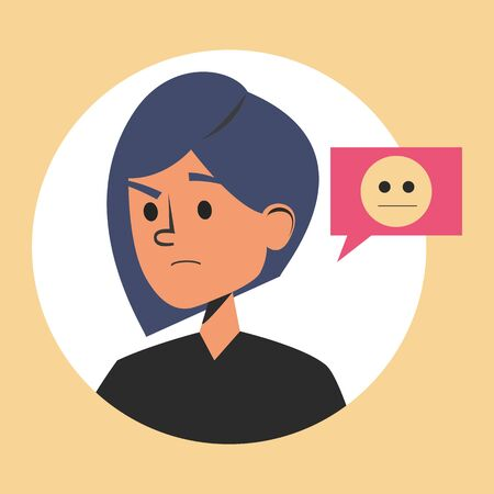 Portrait of a woman pondering vector isolated. Yellow emoji symbol for the internet chat. Young female character in doubt.