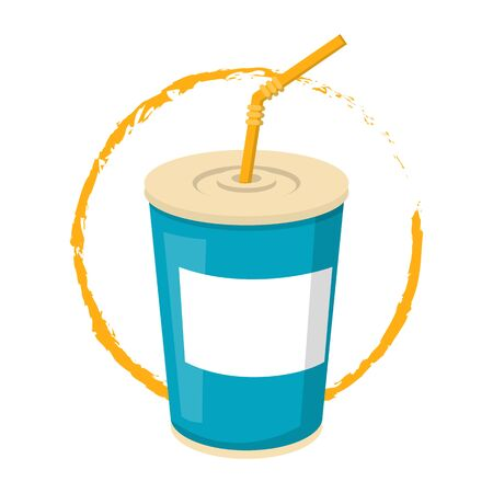 Soda drink in a blue plastic cup with a yellow straw vector isolated. Delicious beverage in container. Carbonated water advertisement symbol.