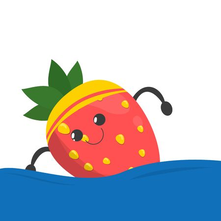 Strawberry character swim in the swimming pool vector isolated. Food character doing sport exercise. Idea of healthy diet and active lifestyle. Çizim