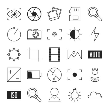 Photography related line icon collection. Set of various symbols. Camera, lighting and memory card.