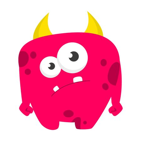 Monster vector isolated. Colorful and cute creature. Shy monster standing and smiling. Funny yellow alien. Çizim
