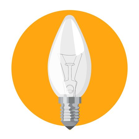 Light bulb on yellow background vector isolated. Single electric equipment, one light object. Glass lamp, source of energy and power. Çizim