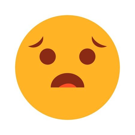 Sad yellow emoji symbol vector isolated. Cute and funny character with sad face expression.