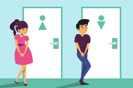 Children standing at the toilet door and want to pee. Girl and boy with urinating problem. WC door is locked. Full bladder.