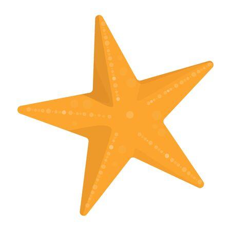 Sea star vector isolated. Yellow underwater creature, sea or ocean wildlife. Beautiful starfish. 矢量图片