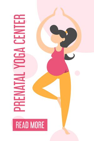 Prenatal yoga center advertising on the mobile web banner. Pregnant woman standing in tree yoga pose. Motherhood and active lifestyle. Ilustracja