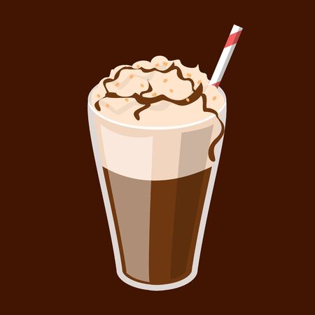 Coffee frappe in a glass vector isolated. Red straw in a tasty cold beverage. Delicious fresh drink.
