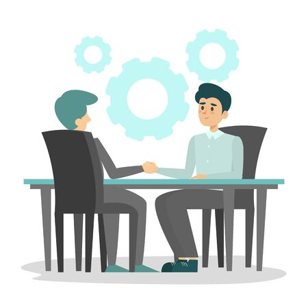 Business deal between man and man vector isolated. Business workers sitting at the table and shake hands. Successful agreement.