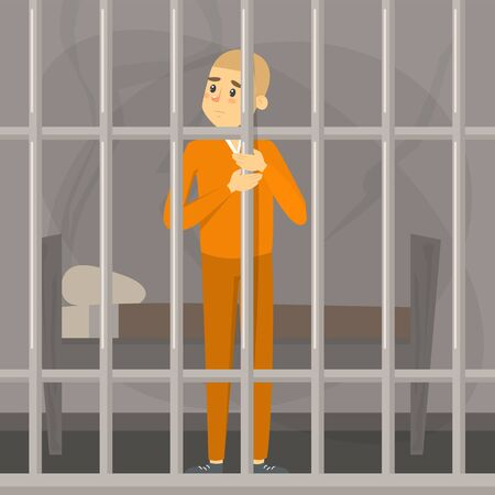 Sad man standing in prison. Person in orange clothing locked in the cell. Jail punishment. Man imprisoned, murderer or robber under sentence