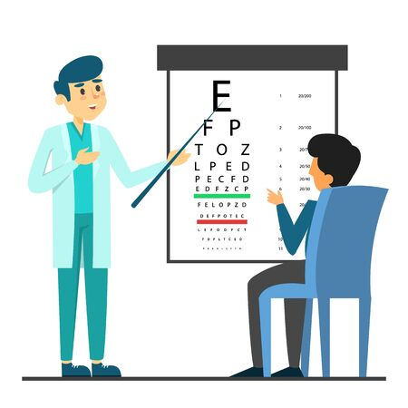 Male beautiful doctor oculist in glasses standing at the eyesight check table vector isolated. Ophthalmology examination, medical person pointing at letter, patient sitting on chair.