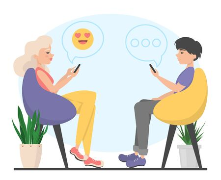 Man and woman sitting in the chair and chatting in the mobile phones. Internet communication. Emoji symbol for chatting. Ilustrace