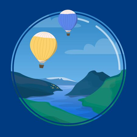 Circle vector illustration of the nature. Blue sky and beautiful landscape with mountains. Air balloon flying high above.