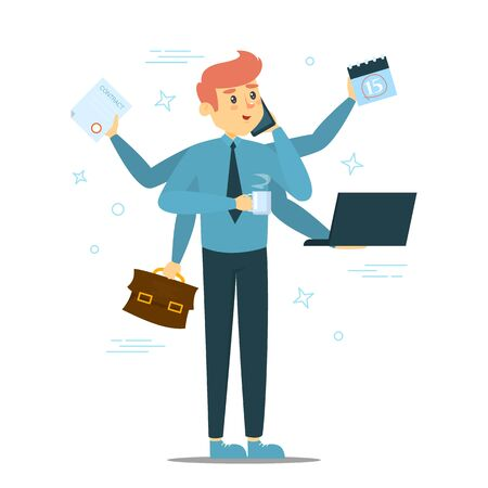Happy successful multitasking businessman standing vector isolated. Young man doing many things at once. Busy worker.