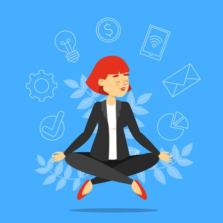 Businesswoman in lotus pose meditating vector isolated. Relaxation on the work. Professional worker training concentration.