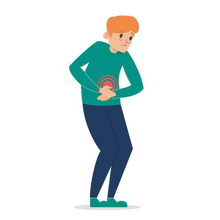 Man feel pain in stomach vector isolated. Young adult suffering from abdomen ache. Painful diarrhea. Illustration